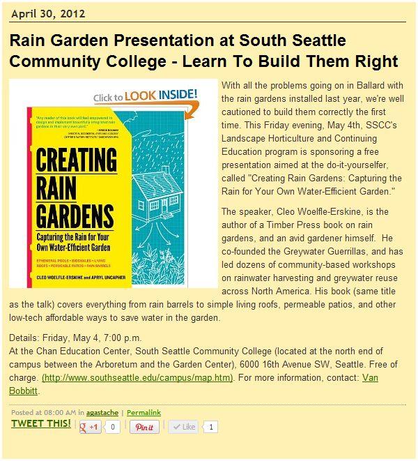 Creating Rain Gardens Sustainable NE Seattle